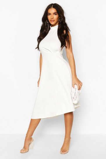 Ivory High Neck Asymmetric Midi Skater Dress