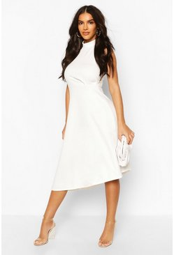 Womens Ivory High Neck Asymmetric Midi Skater Dress