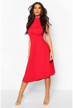 Red High Neck Asymmetric Midi Skater Dress