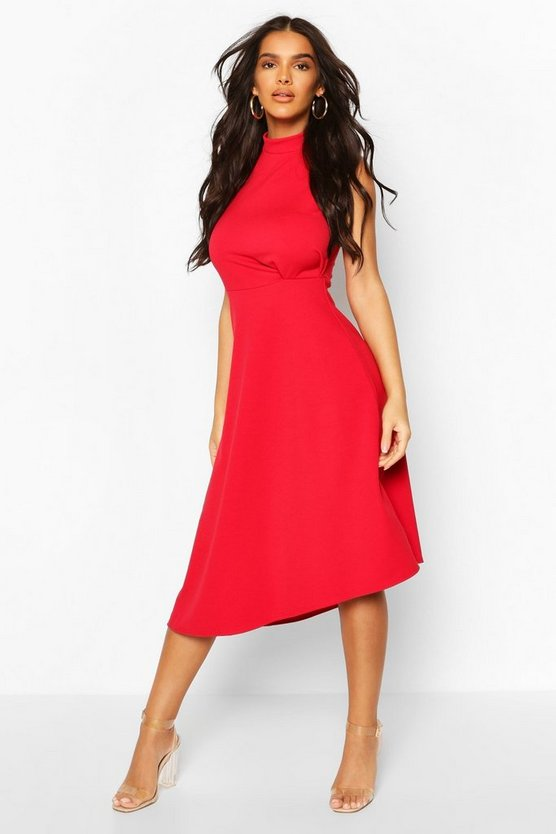 High Neck Asymmetric Midi Skater Dress
