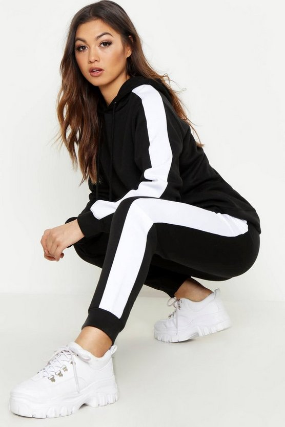 Womens Black Stripe Hoody & Jogger Tracksuit