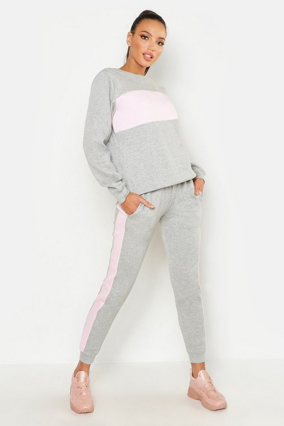 Grey Panel Sweat & Jogger Tracksuit