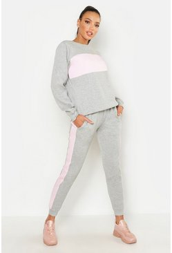 Womens Grey Panel Sweat & Jogger Tracksuit