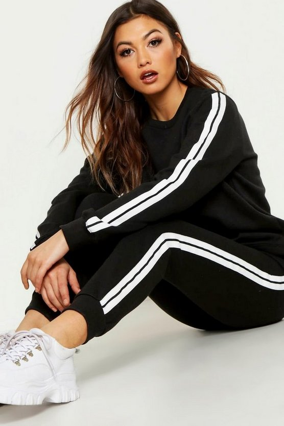 Womens Black Stripe Sweater & Jogger Tracksuit