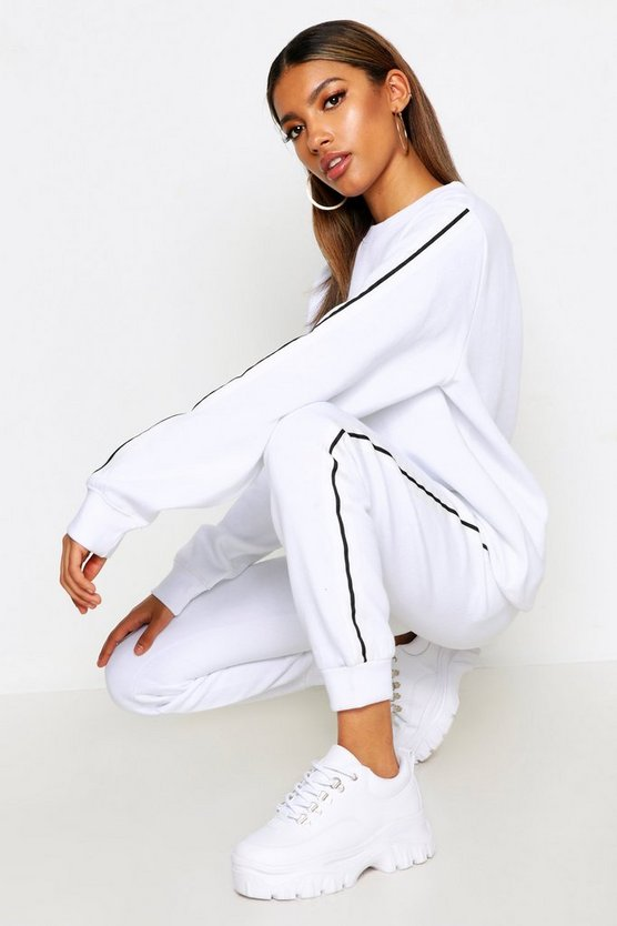 Womens White Stripe Sweater & Jogger Tracksuit