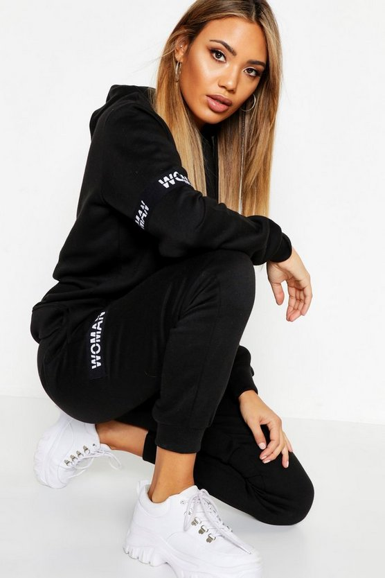 Womens Black Woman Hoody & Jogger Tracksuit Set