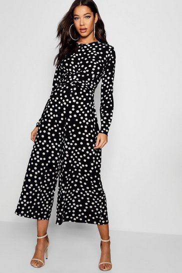 Black Twist Front Polka Dot Jumpsuit