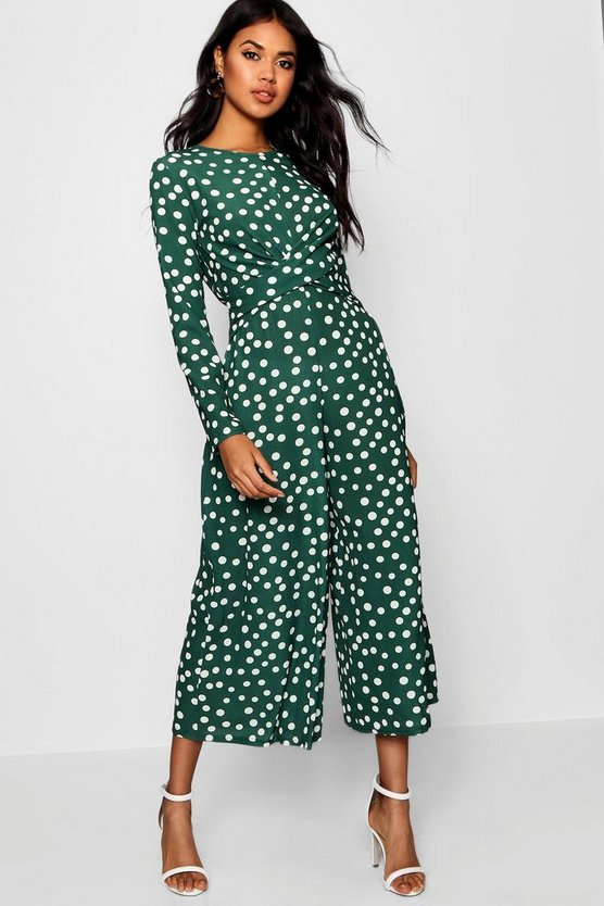 Womens Navy Twist Front Polka Dot Jumpsuit