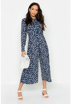 Navy Twist Front Polka Dot Jumpsuit