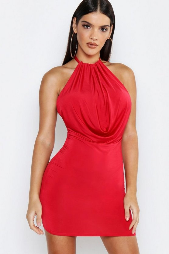 Womens Red Slinky Halter Cowl Front Bodycon Mini Dress