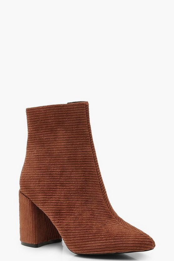 Womens Tan Cord Block Heel Shoe Boots