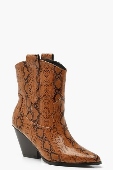 Womens Brown Snake Pointed Cow Boy Boots