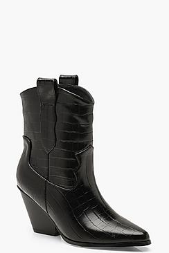 Croc Pointed Cowboy Boots