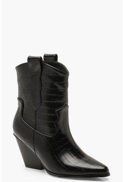 Dam Black Croc Pointed Cowboy Boots