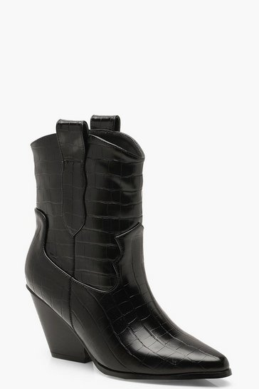 Black Croc Pointed Cowboy Boots