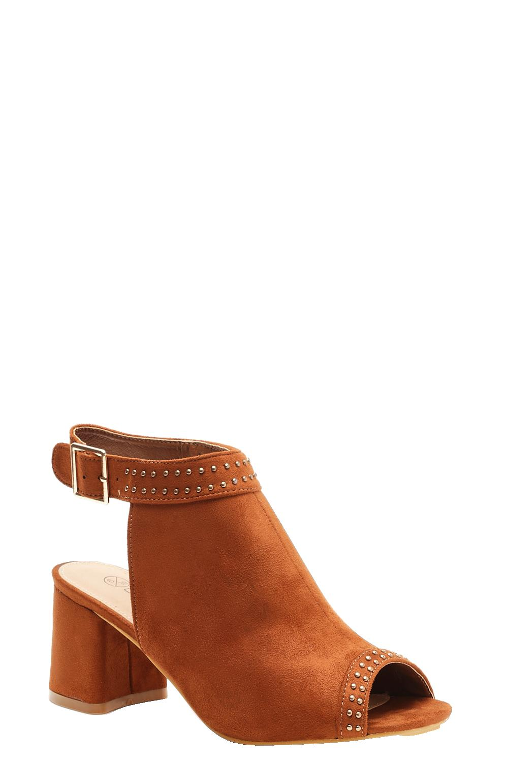 Extra Wide Fit Studded Peeptoe Shoe Boots