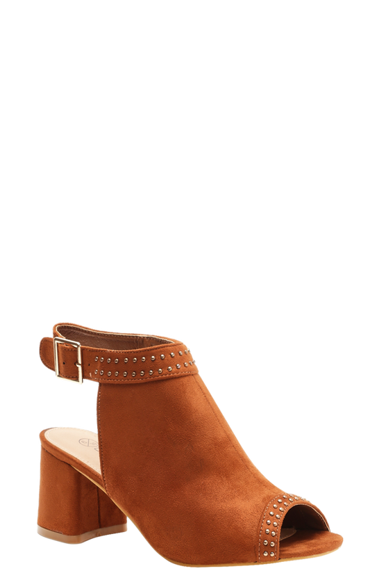 Tan Extra Wide Fit Studded Peeptoe Shoe Boots