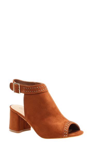 Womens Tan Extra Wide Fit Studded Peeptoe Shoe Boots