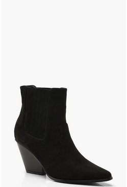 Womens Black Western Style Ankle Boots