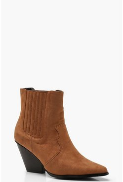 Womens Tan Western Style Ankle Boots