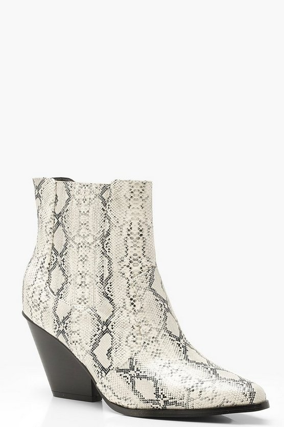 Grey Western Style Snake Print Ankle Boots