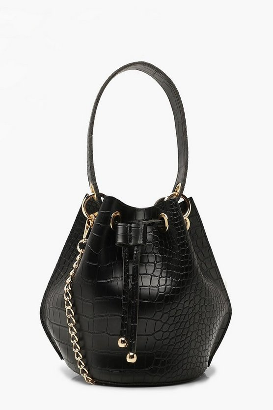 Handle Detail Croc Effect Cross Body