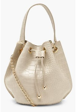 Cream Handle Detail Croc Cross Body Bag