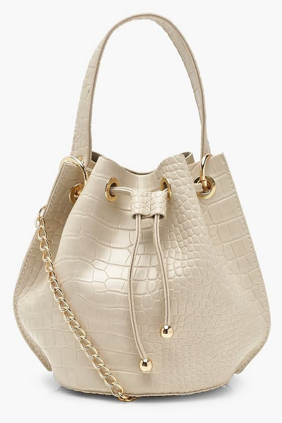 Womens Cream Handle Detail Croc Cross Body Bag