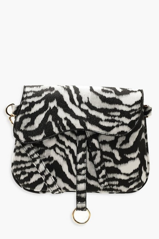 Black Wave Flap Zebra Cross Body Bag