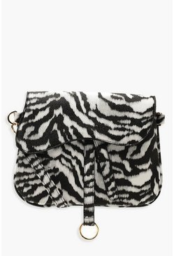 Womens Black Wave Flap Zebra Cross Body Bag