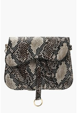 Womens Natural Wave Flap Snake Cross Body Bag