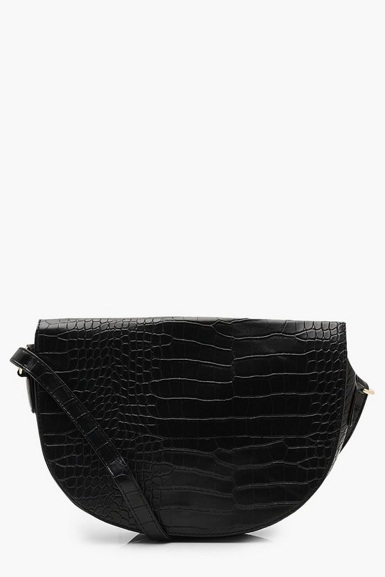 Womens Black Croc Semi Circle Saddle Cross Body