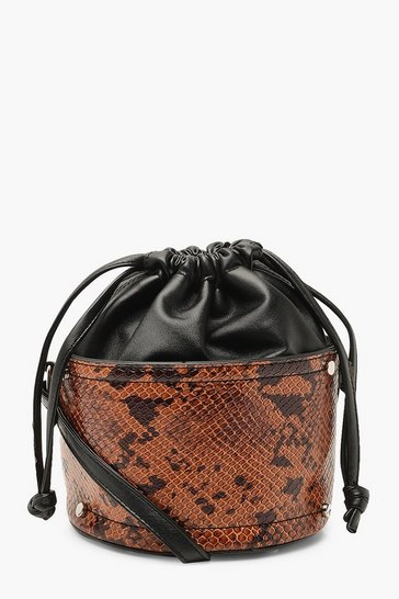 Womens Brown Snake Micro Mini Duffle Cross Body Bag