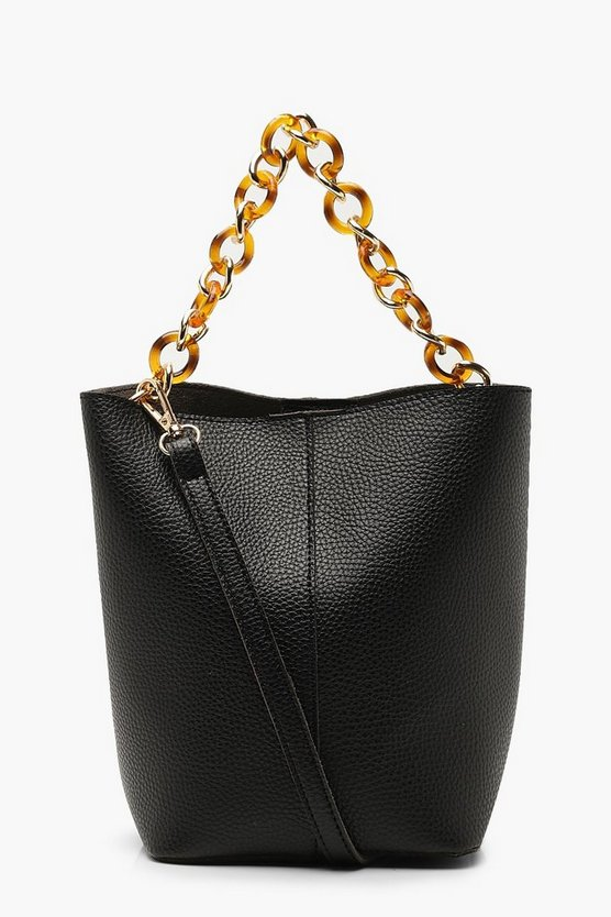 Womens Black Chunky Resin Strap Bucket Cross Body