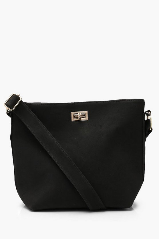 Womens Black Suedette Bucket Cross Body With Lock