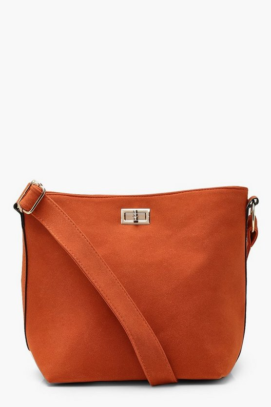 Suedette Bucket Cross Body With Lock