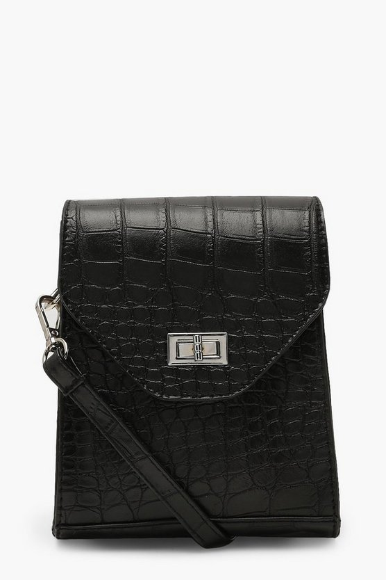 Womens Black Croc & Lock Square Cross Body Bag