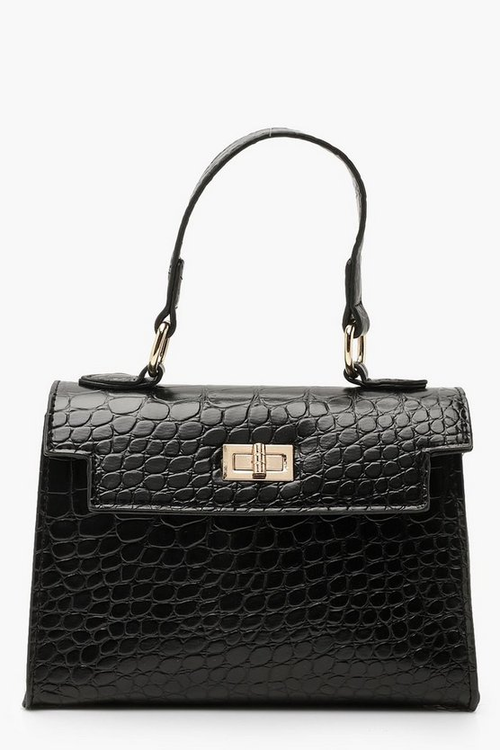 Womens Black Croc Mini Grab Bag