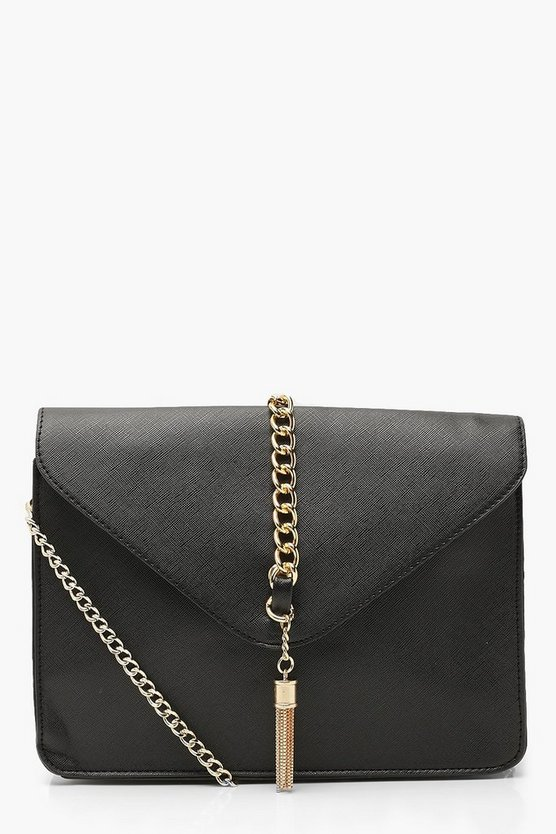 Womens Black Crosshatch Chain & Handle Cross Body