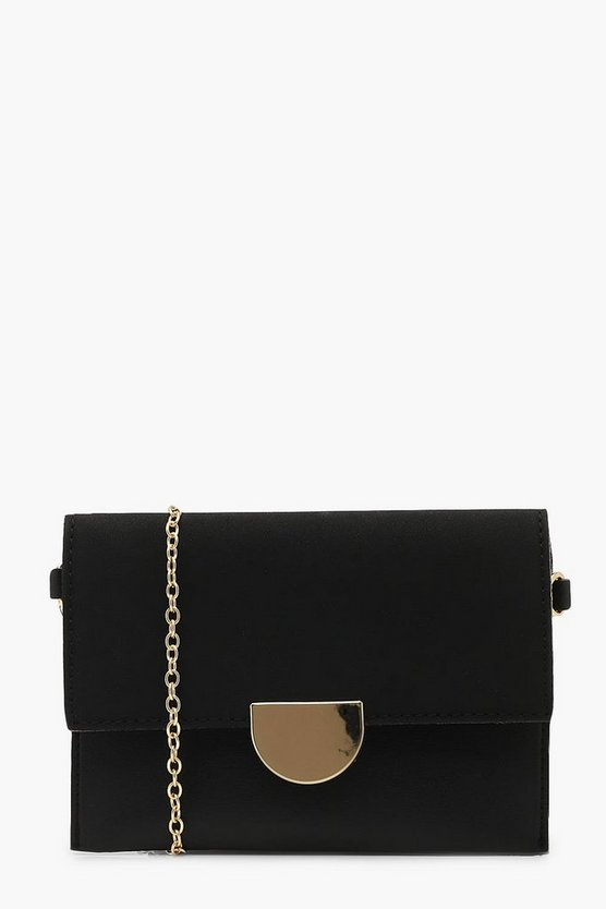 Metal Detail Suedette & PU Cross Body