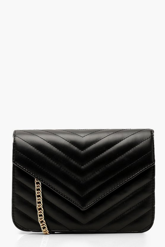 Womens Black Structured Chevron Quilt Cross Body