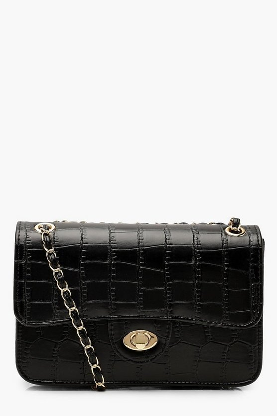 Womens Black All Over Croc & Lock Cross Body