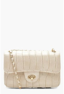 Womens White All Over Croc & Lock Cross Body