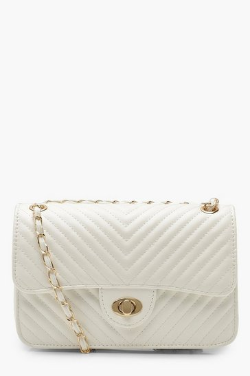 Womens White Chevron Quilt Cross Body Bag
