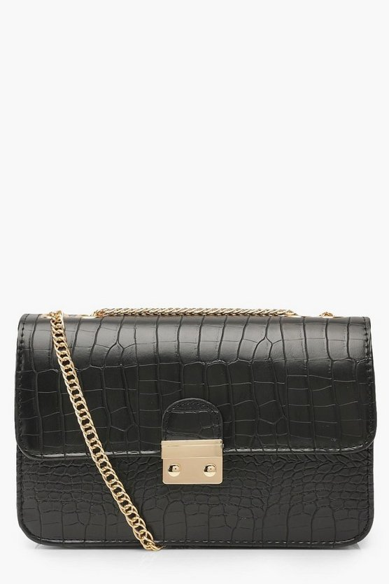 Black Croc Pushlock Cross Body Bag
