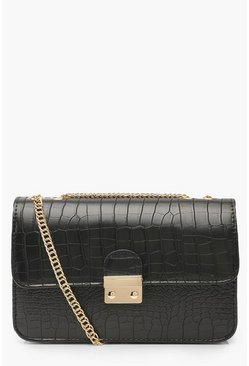 Womens Black Croc Pushlock Cross Body Bag