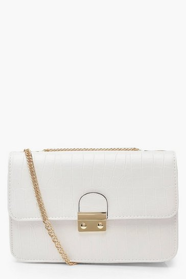 Womens Cream Croc Pushlock Cross Body Bag