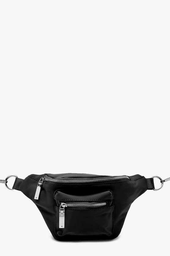 Womens Black Utility Sports Bumbag