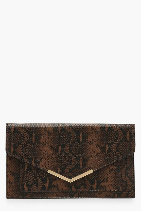 Womens Brown Snake Painted Edge & Bar Clutch