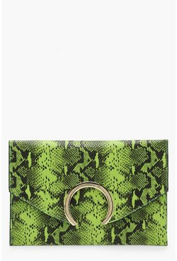 Womens Lime Large Ring Snake Clutch